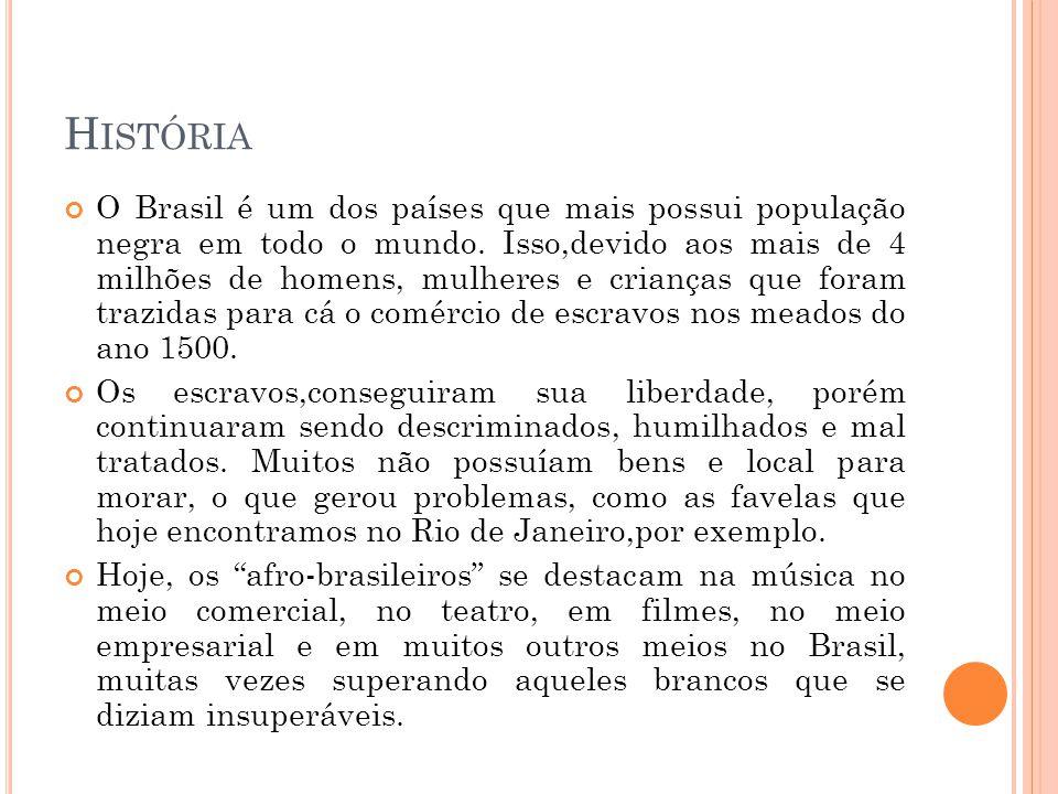 O S A FRO - B RASILEIROS Desde que eram escravos, os afro brasileiros já possuíam uma infinidade de aspectos próprios, como por exemplo, a cultura, a religião e a arte.