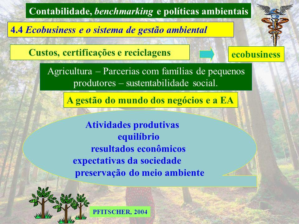 Contabilidade, benchmarking e políticas ambientais 4.4 Benchmarking ambiental nas empresas Processo contínuo e sistemático de reconhecimento, avaliaçã