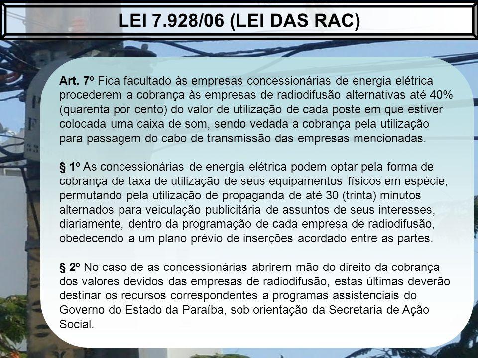 Art. 7º Fica facultado às empresas concessionárias de energia elétrica procederem a cobrança às empresas de radiodifusão alternativas até 40% (quarent