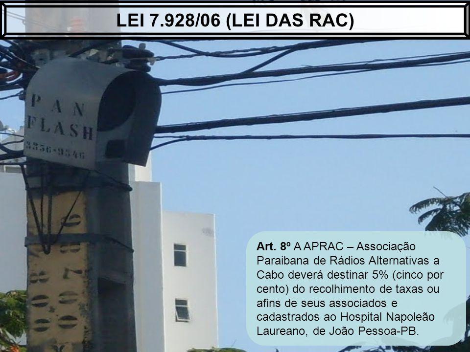 Art. 8º A APRAC – Associação Paraibana de Rádios Alternativas a Cabo deverá destinar 5% (cinco por cento) do recolhimento de taxas ou afins de seus as