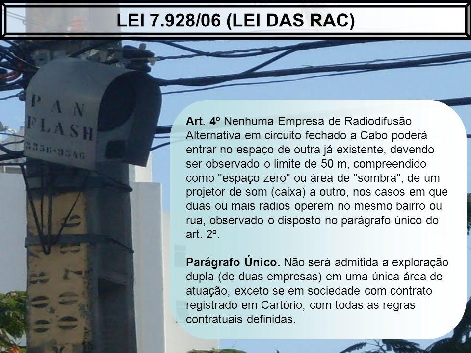 Art. 4º Nenhuma Empresa de Radiodifusão Alternativa em circuito fechado a Cabo poderá entrar no espaço de outra já existente, devendo ser observado o
