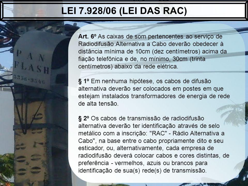 Art. 6º As caixas de som pertencentes ao serviço de Radiodifusão Alternativa a Cabo deverão obedecer à distância mínima de 10cm (dez centímetros) acim