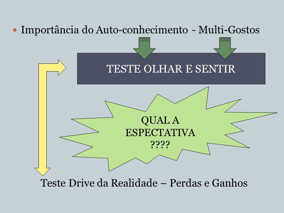 Importância do Auto-conhecimento - Multi-Gostos Teste Drive da Realidade – Perdas e Ganhos TESTE OLHAR E SENTIR QUAL A ESPECTATIVA ????
