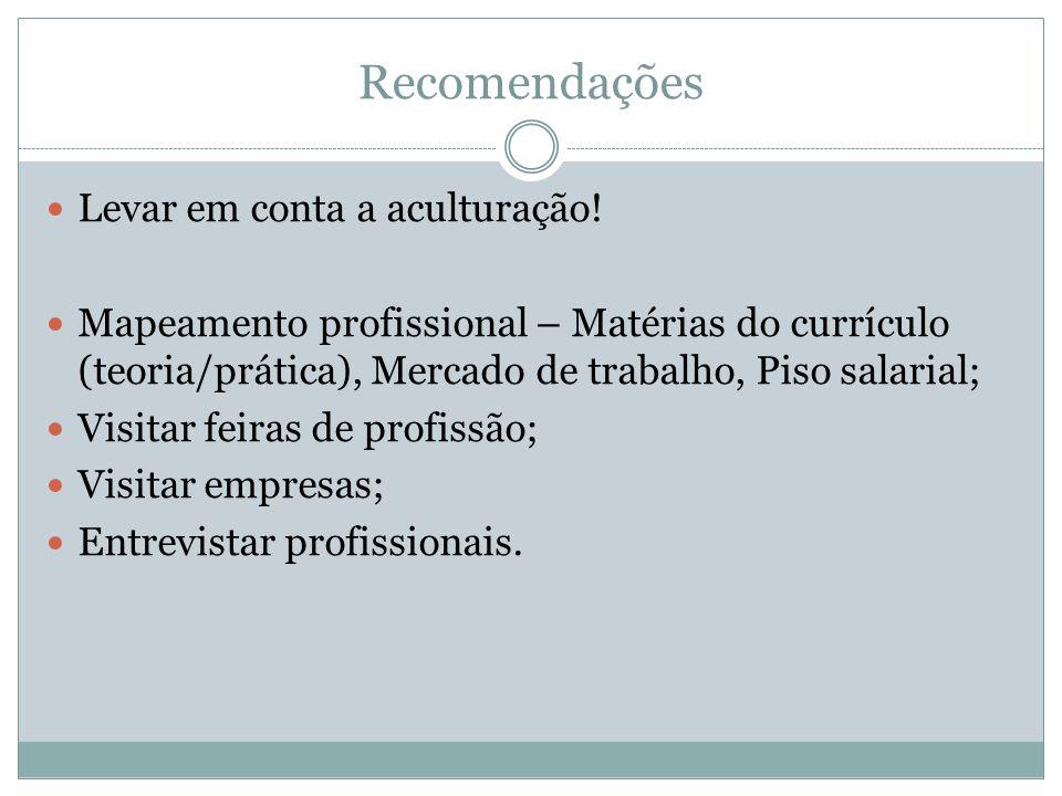 Recomendações Levar em conta a aculturação! Mapeamento profissional – Matérias do currículo (teoria/prática), Mercado de trabalho, Piso salarial; Visi