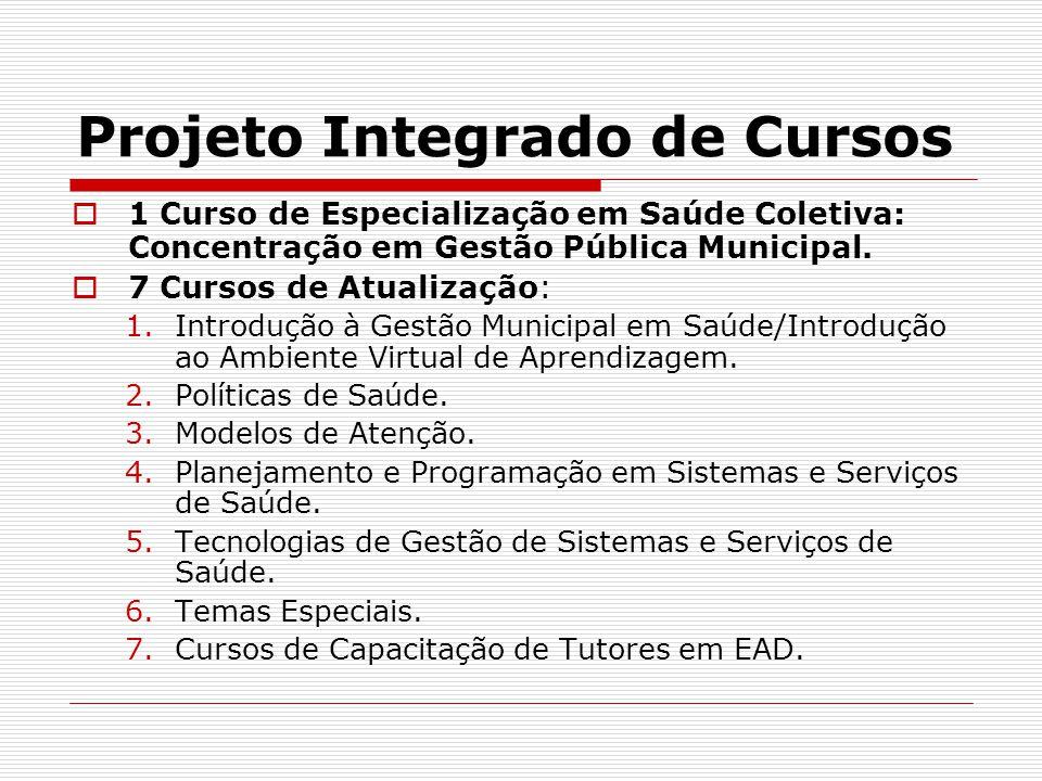 Projeto Integrado de Cursos 1 Curso de Especialização em Saúde Coletiva: Concentração em Gestão Pública Municipal.