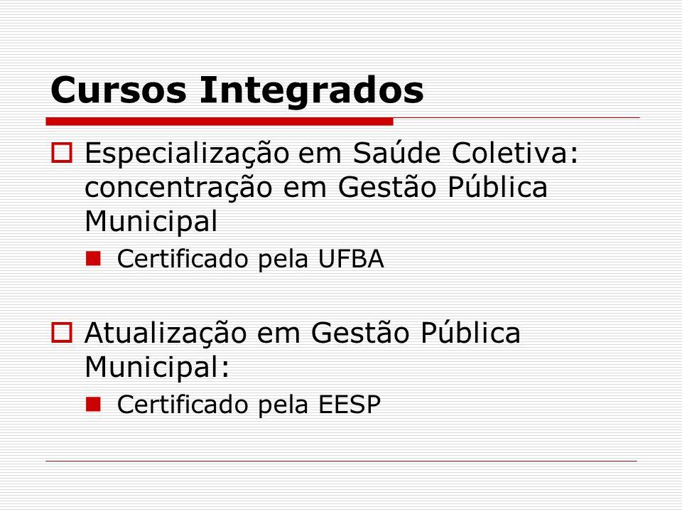 Cursos Integrados Especialização em Saúde Coletiva: concentração em Gestão Pública Municipal Certificado pela UFBA Atualização em Gestão Pública Municipal: Certificado pela EESP