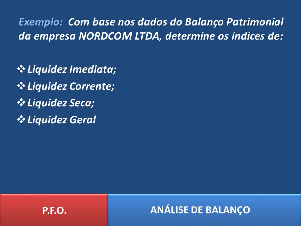 Exemplo: Com base nos dados do Balanço Patrimonial da empresa NORDCOM LTDA, determine os índices de: Liquidez Imediata; Liquidez Corrente; Liquidez Se