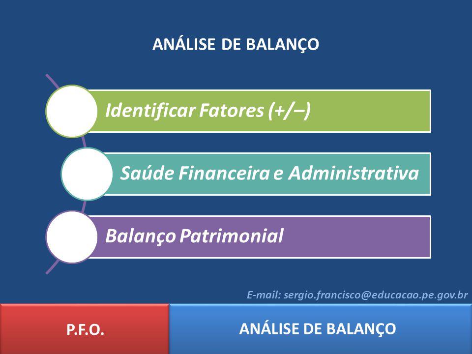 ANÁLISE DE BALANÇO Identificar Fatores (+/–) Saúde Financeira e Administrativa Balanço Patrimonial P.F.O. ANÁLISE DE BALANÇO E-mail: sergio.francisco@