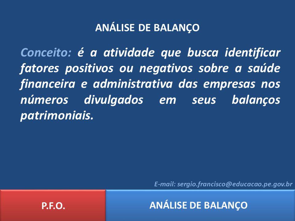 ANÁLISE DE BALANÇO Conceito: é a atividade que busca identificar fatores positivos ou negativos sobre a saúde financeira e administrativa das empresas