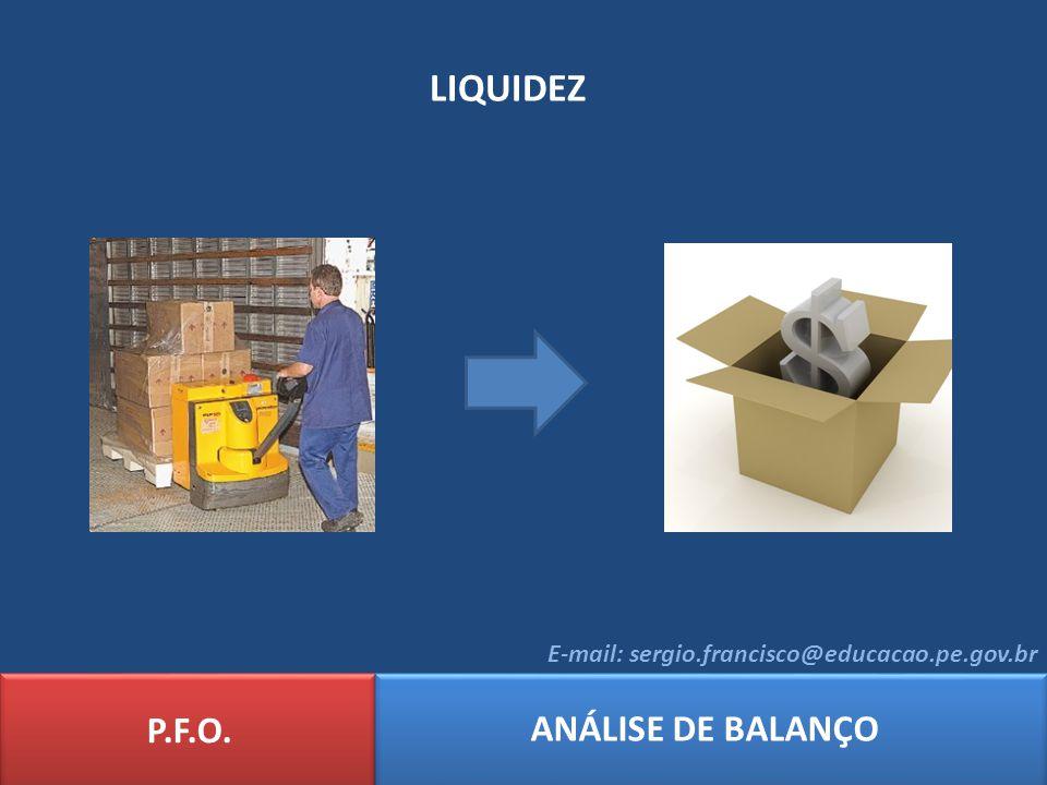 Exemplo: Com base nos dados do Balanço Patrimonial da empresa NORDCOM LTDA, determine os índices de: Liquidez Imediata; Liquidez Corrente; Liquidez Seca; Liquidez Geral P.F.O.