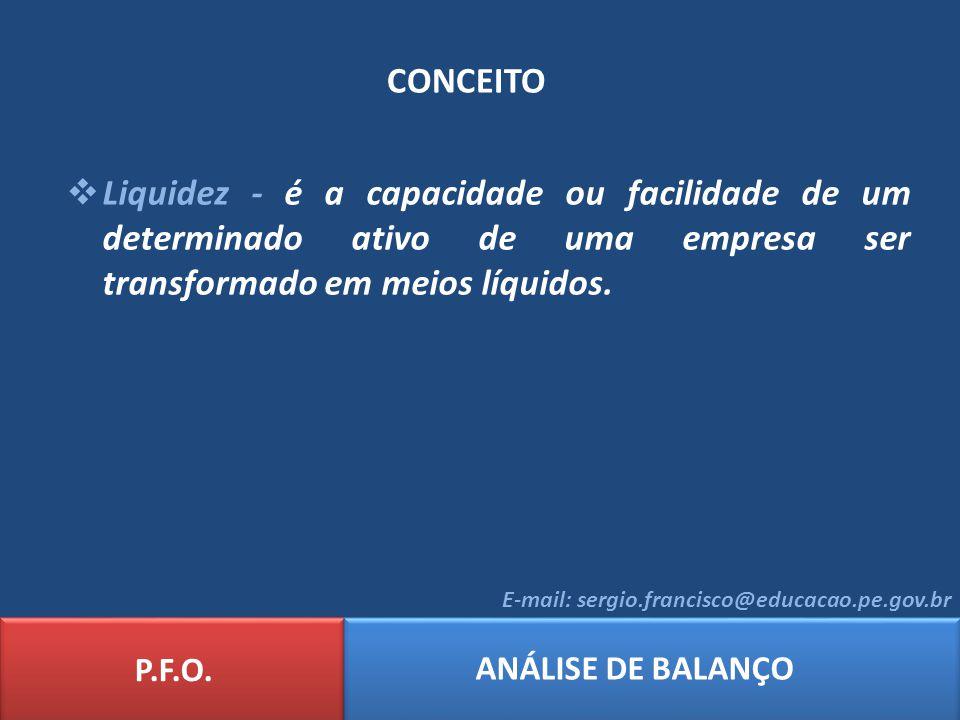 CONCEITO P.F.O. ANÁLISE DE BALANÇO E-mail: sergio.francisco@educacao.pe.gov.br Liquidez - é a capacidade ou facilidade de um determinado ativo de uma