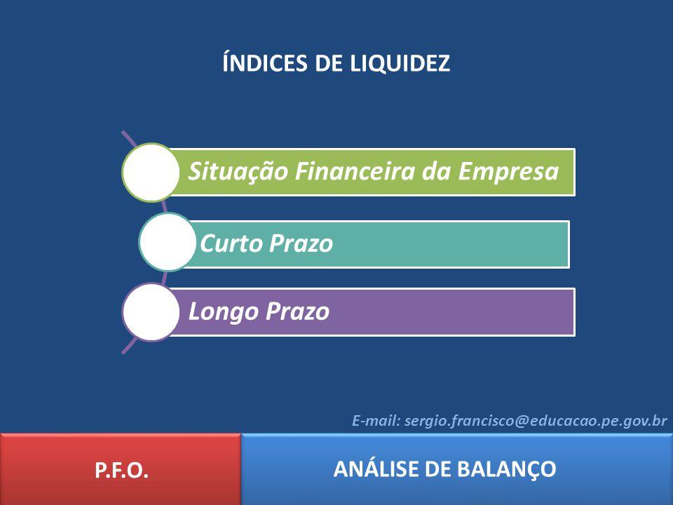 ÍNDICES DE LIQUIDEZ Liquidez Imediata Liquidez Corrente (Curto Prazo) Liquidez Seca Liquidez Geral (Longo Prazo) P.F.O.