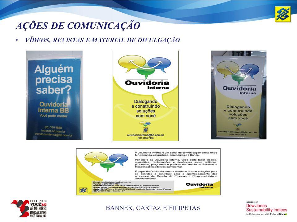 AÇÕES DE COMUNICAÇÃO VÍDEOS, REVISTAS E MATERIAL DE DIVULGAÇÃO BANNER, CARTAZ E FILIPETAS