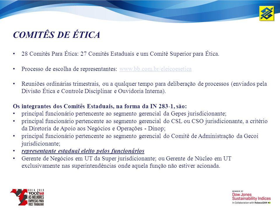 COMITÊS DE ÉTICA 28 Comitês Para Ética: 27 Comitês Estaduais e um Comitê Superior para Ética. Processo de escolha de representantes: www.bb.com.br/ele