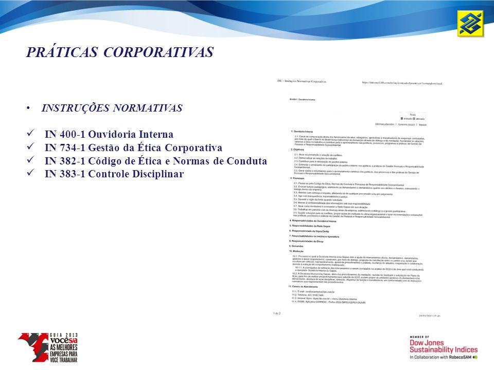 PRÁTICAS CORPORATIVAS INSTRUÇÕES NORMATIVAS IN 400-1 Ouvidoria Interna IN 734-1 Gestão da Ética Corporativa IN 382-1 Código de Ética e Normas de Condu