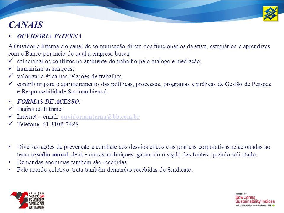 CANAIS OUVIDORIA INTERNA A Ouvidoria Interna é o canal de comunicação direta dos funcionários da ativa, estagiários e aprendizes com o Banco por meio
