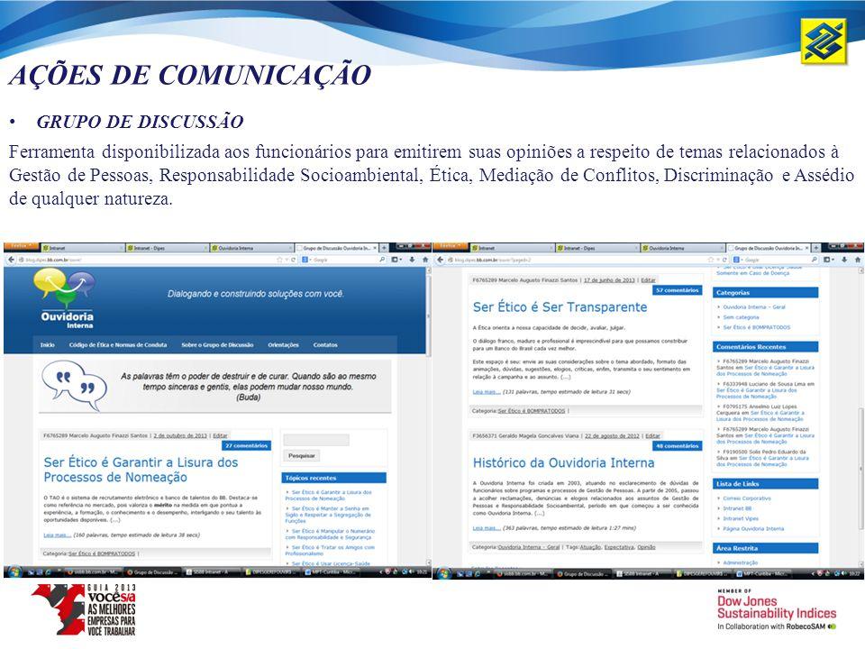 AÇÕES DE COMUNICAÇÃO GRUPO DE DISCUSSÃO Ferramenta disponibilizada aos funcionários para emitirem suas opiniões a respeito de temas relacionados à Ges