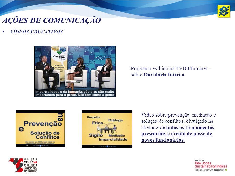 AÇÕES DE COMUNICAÇÃO VÍDEOS EDUCATIVOS Vídeo sobre prevenção, mediação e solução de conflitos, divulgado na abertura de todos os treinamentos presenci