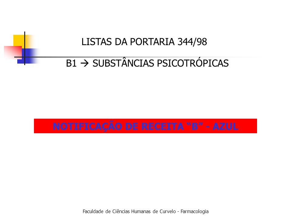 Faculdade de Ciências Humanas de Curvelo - Farmacologia LISTAS DA PORTARIA 344/98 B1 SUBSTÂNCIAS PSICOTRÓPICAS NOTIFICAÇÃO DE RECEITA B - AZUL