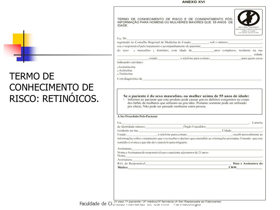 Faculdade de Ciências Humanas de Curvelo - Farmacologia TERMO DE CONHECIMENTO DE RISCO: RETINÓICOS.
