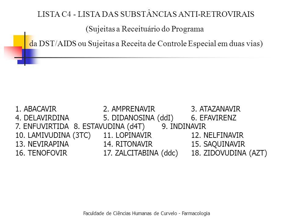 Faculdade de Ciências Humanas de Curvelo - Farmacologia LISTA - C4 1.