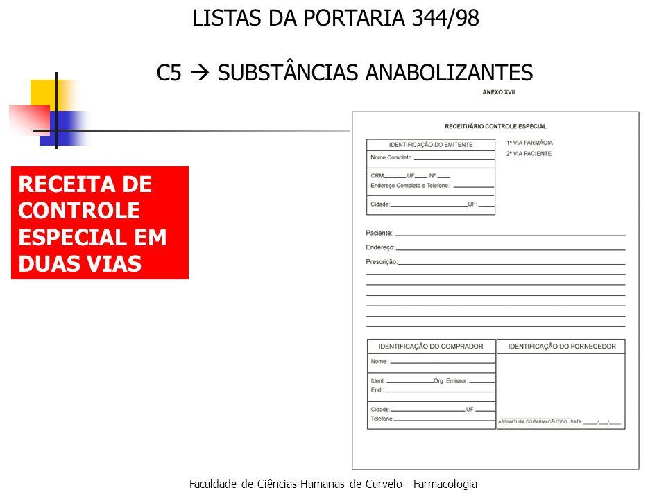 Faculdade de Ciências Humanas de Curvelo - Farmacologia LISTAS DA PORTARIA 344/98 RECEITA DE CONTROLE ESPECIAL EM DUAS VIAS C5 SUBSTÂNCIAS ANABOLIZANTES