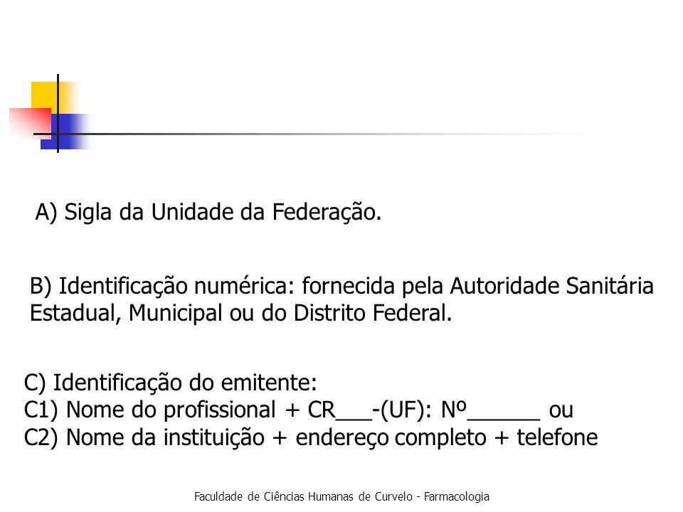 Faculdade de Ciências Humanas de Curvelo - Farmacologia A) Sigla da Unidade da Federação.