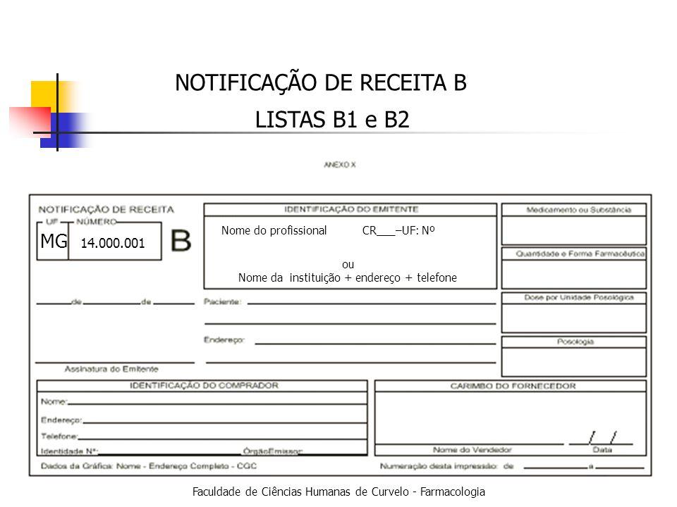 Faculdade de Ciências Humanas de Curvelo - Farmacologia NOTIFICAÇÃO DE RECEITA B LISTAS B1 e B2 MG Nome do profissionalCR___–UF: Nº ou Nome da instituição + endereço + telefone 14.000.001