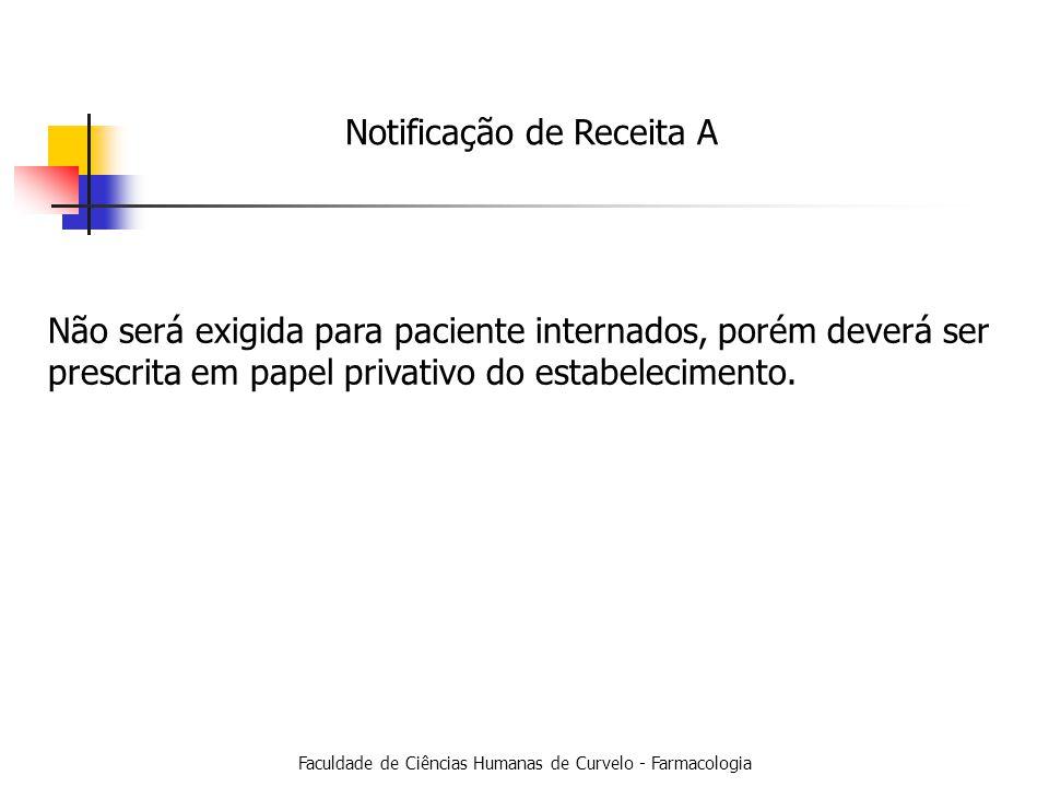 Faculdade de Ciências Humanas de Curvelo - Farmacologia Notificação de Receita A Não será exigida para paciente internados, porém deverá ser prescrita em papel privativo do estabelecimento.
