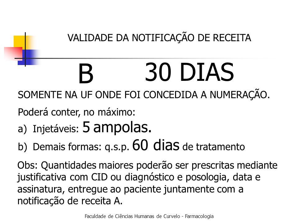Faculdade de Ciências Humanas de Curvelo - Farmacologia VALIDADE DA NOTIFICAÇÃO DE RECEITA B 30 DIAS SOMENTE NA UF ONDE FOI CONCEDIDA A NUMERAÇÃO.