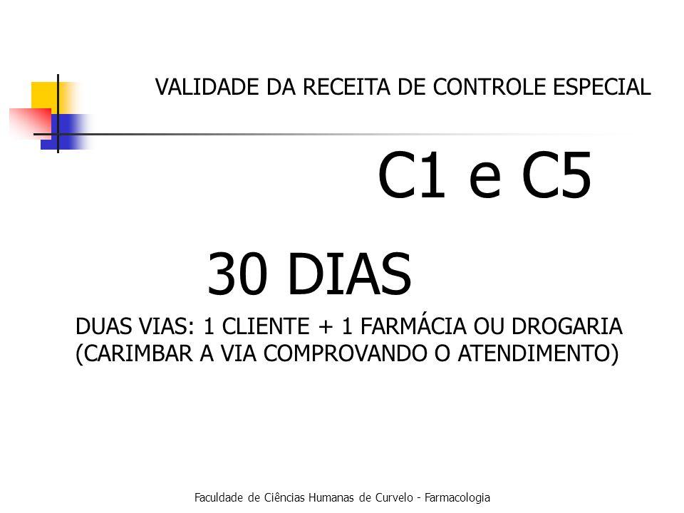Faculdade de Ciências Humanas de Curvelo - Farmacologia VALIDADE DA RECEITA DE CONTROLE ESPECIAL C1 e C5 30 DIAS DUAS VIAS: 1 CLIENTE + 1 FARMÁCIA OU DROGARIA (CARIMBAR A VIA COMPROVANDO O ATENDIMENTO)