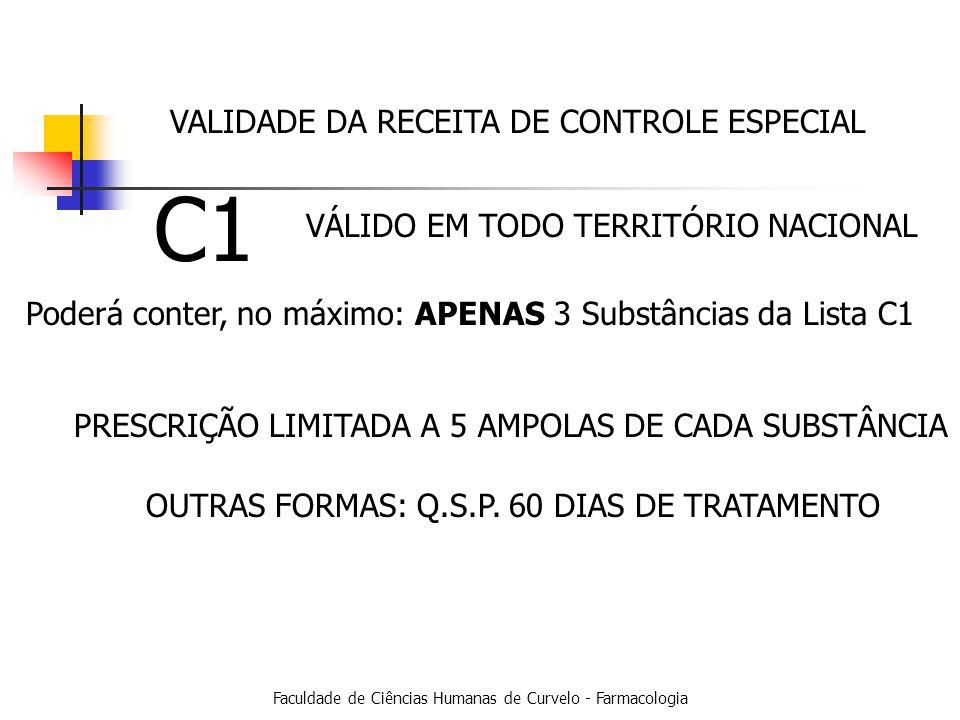 Faculdade de Ciências Humanas de Curvelo - Farmacologia C1 Poderá conter, no máximo: APENAS 3 Substâncias da Lista C1 PRESCRIÇÃO LIMITADA A 5 AMPOLAS DE CADA SUBSTÂNCIA OUTRAS FORMAS: Q.S.P.