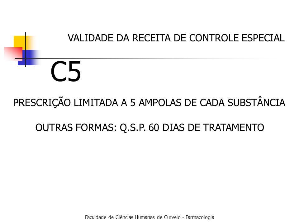 Faculdade de Ciências Humanas de Curvelo - Farmacologia PRESCRIÇÃO LIMITADA A 5 AMPOLAS DE CADA SUBSTÂNCIA C5 VALIDADE DA RECEITA DE CONTROLE ESPECIAL OUTRAS FORMAS: Q.S.P.