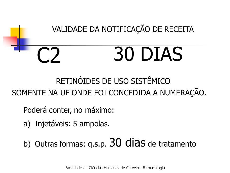 Faculdade de Ciências Humanas de Curvelo - Farmacologia VALIDADE DA NOTIFICAÇÃO DE RECEITA C2 30 DIAS SOMENTE NA UF ONDE FOI CONCEDIDA A NUMERAÇÃO.