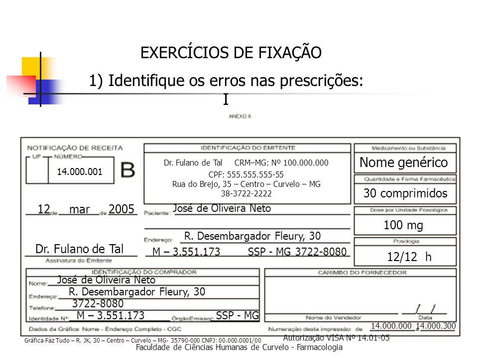 Faculdade de Ciências Humanas de Curvelo - Farmacologia EXERCÍCIOS DE FIXAÇÃO 1) Identifique os erros nas prescrições: I 14.000.000 14.000.300 12 mar 2005 Dr.