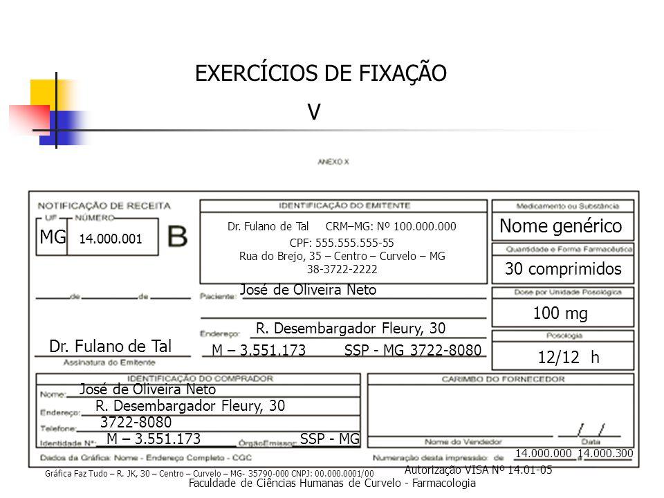 Faculdade de Ciências Humanas de Curvelo - Farmacologia EXERCÍCIOS DE FIXAÇÃO V 14.000.000 14.000.300 Dr.