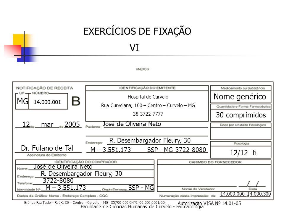 Faculdade de Ciências Humanas de Curvelo - Farmacologia EXERCÍCIOS DE FIXAÇÃO VI 14.000.000 14.000.300 12 mar 2005 Dr.
