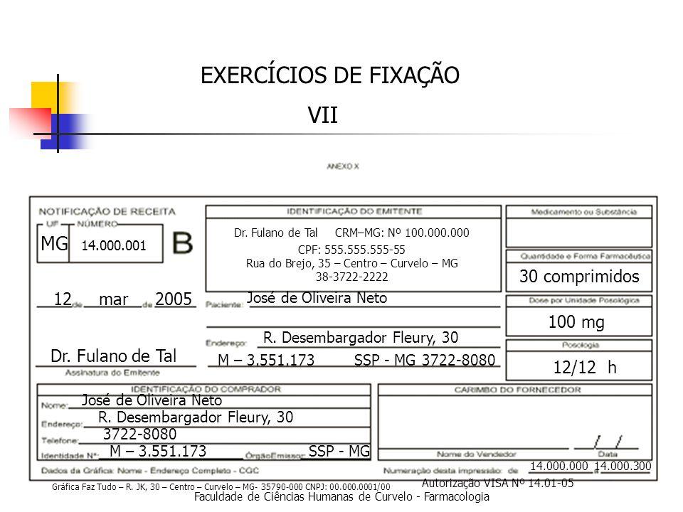 Faculdade de Ciências Humanas de Curvelo - Farmacologia EXERCÍCIOS DE FIXAÇÃO VII 14.000.000 14.000.300 12 mar 2005 Dr.