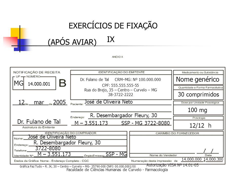 Faculdade de Ciências Humanas de Curvelo - Farmacologia EXERCÍCIOS DE FIXAÇÃO IX 14.000.000 14.000.300 12 mar 2005 Dr.