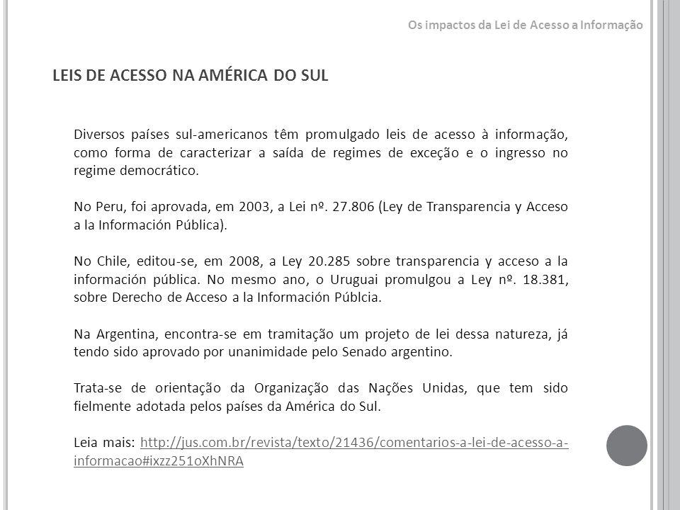LEIS DE ACESSO NA AMÉRICA DO SUL Diversos países sul-americanos têm promulgado leis de acesso à informação, como forma de caracterizar a saída de regi