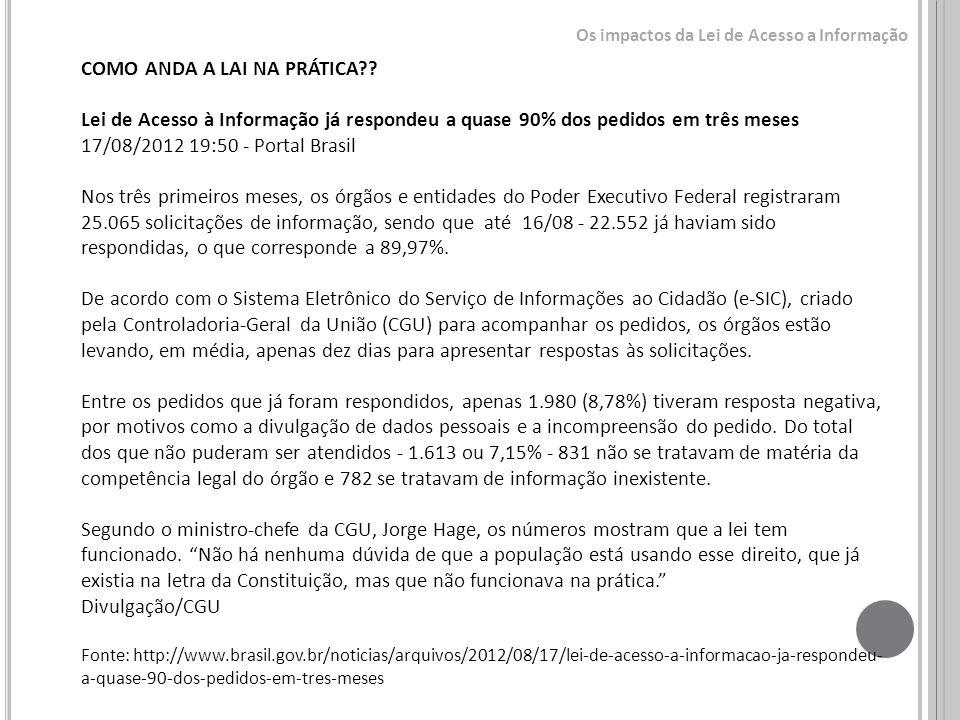 COMO ANDA A LAI NA PRÁTICA?? Lei de Acesso à Informação já respondeu a quase 90% dos pedidos em três meses 17/08/2012 19:50 - Portal Brasil Nos três p