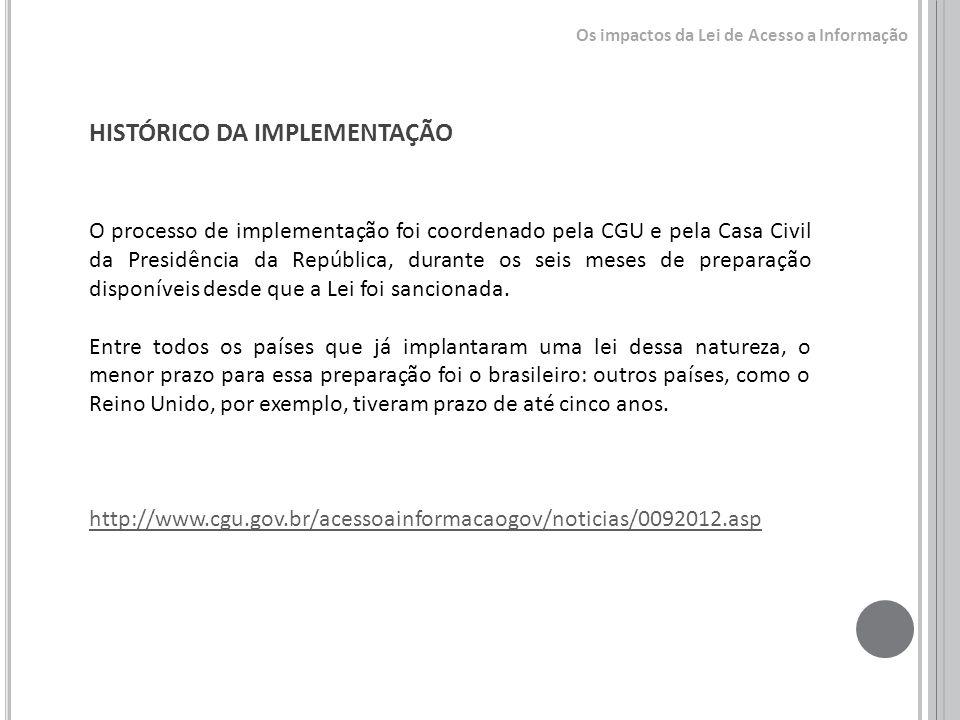 HISTÓRICO DA IMPLEMENTAÇÃO O processo de implementação foi coordenado pela CGU e pela Casa Civil da Presidência da República, durante os seis meses de