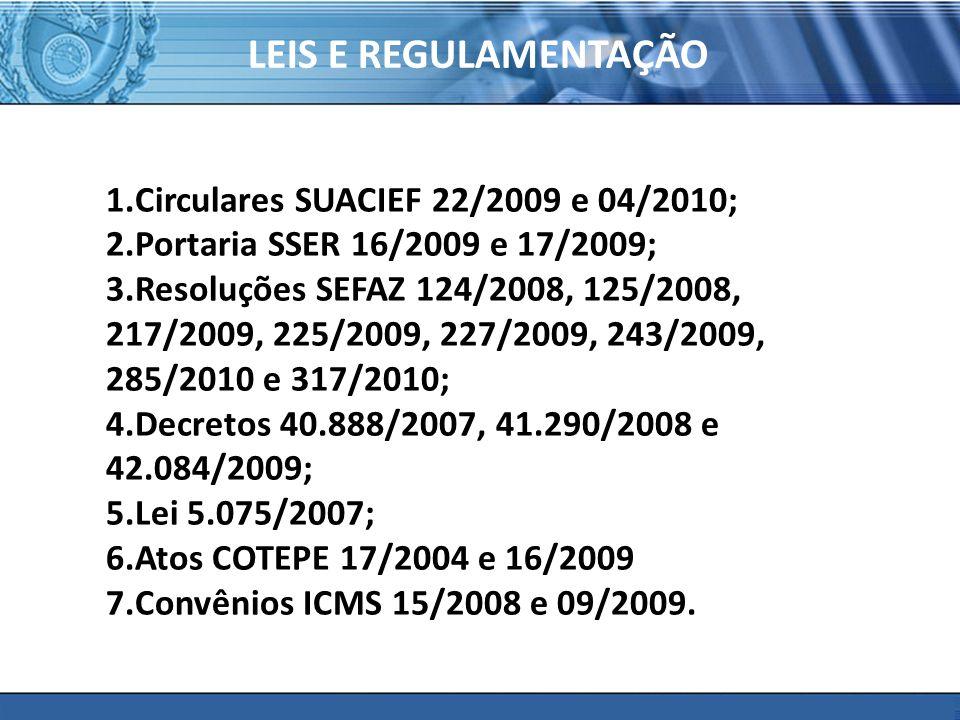 PLONE - 2007 LEIS E REGULAMENTAÇÃO 1.Circulares SUACIEF 22/2009 e 04/2010; 2.Portaria SSER 16/2009 e 17/2009; 3.Resoluções SEFAZ 124/2008, 125/2008, 217/2009, 225/2009, 227/2009, 243/2009, 285/2010 e 317/2010; 4.Decretos 40.888/2007, 41.290/2008 e 42.084/2009; 5.Lei 5.075/2007; 6.Atos COTEPE 17/2004 e 16/2009 7.Convênios ICMS 15/2008 e 09/2009.