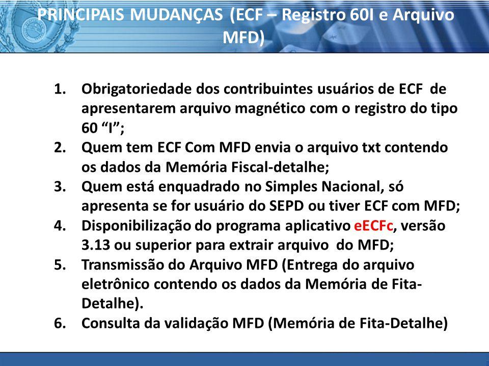 PLONE - 2007 PRINCIPAIS MUDANÇAS (ECF – Registro 60I e Arquivo MFD) 1.Obrigatoriedade dos contribuintes usuários de ECF de apresentarem arquivo magnético com o registro do tipo 60 I; 2.Quem tem ECF Com MFD envia o arquivo txt contendo os dados da Memória Fiscal-detalhe; 3.Quem está enquadrado no Simples Nacional, só apresenta se for usuário do SEPD ou tiver ECF com MFD; 4.Disponibilização do programa aplicativo eECFc, versão 3.13 ou superior para extrair arquivo do MFD; 5.Transmissão do Arquivo MFD (Entrega do arquivo eletrônico contendo os dados da Memória de Fita- Detalhe).