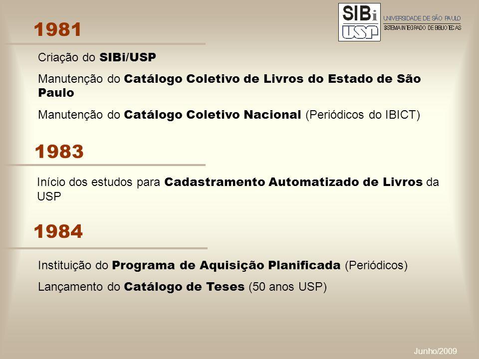 Junho/2009 1981 Criação do SIBi/USP Manutenção do Catálogo Coletivo de Livros do Estado de São Paulo Manutenção do Catálogo Coletivo Nacional (Periódicos do IBICT) 1983 Início dos estudos para Cadastramento Automatizado de Livros da USP 1984 Instituição do Programa de Aquisição Planificada (Periódicos) Lançamento do Catálogo de Teses (50 anos USP)