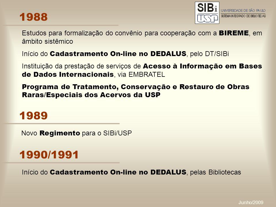 Junho/2009 1988 Estudos para formalização do convênio para cooperação com a BIREME, em âmbito sistêmico Início do Cadastramento On-line no DEDALUS, pelo DT/SIBi Instituição da prestação de serviços de Acesso à Informação em Bases de Dados Internacionais, via EMBRATEL Programa de Tratamento, Conservação e Restauro de Obras Raras/Especiais dos Acervos da USP 1989 Novo Regimento para o SIBi/USP 1990/1991 Início do Cadastramento On-line no DEDALUS, pelas Bibliotecas