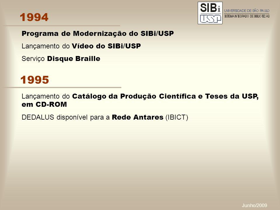 Junho/2009 1994 Programa de Modernização do SIBi/USP Lançamento do Vídeo do SIBi/USP Serviço Disque Braille 1995 Lançamento do Catálogo da Produção Científica e Teses da USP, em CD-ROM DEDALUS disponível para a Rede Antares (IBICT)