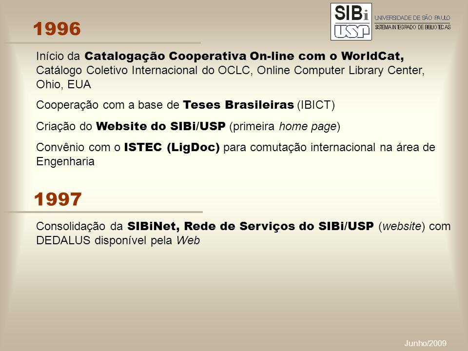 Junho/2009 1996 Início da Catalogação Cooperativa On-line com o WorldCat, Catálogo Coletivo Internacional do OCLC, Online Computer Library Center, Ohio, EUA Cooperação com a base de Teses Brasileiras (IBICT) Criação do Website do SIBi/USP (primeira home page) Convênio com o ISTEC (LigDoc) para comutação internacional na área de Engenharia 1997 Consolidação da SIBiNet, Rede de Serviços do SIBi/USP (website) com DEDALUS disponível pela Web