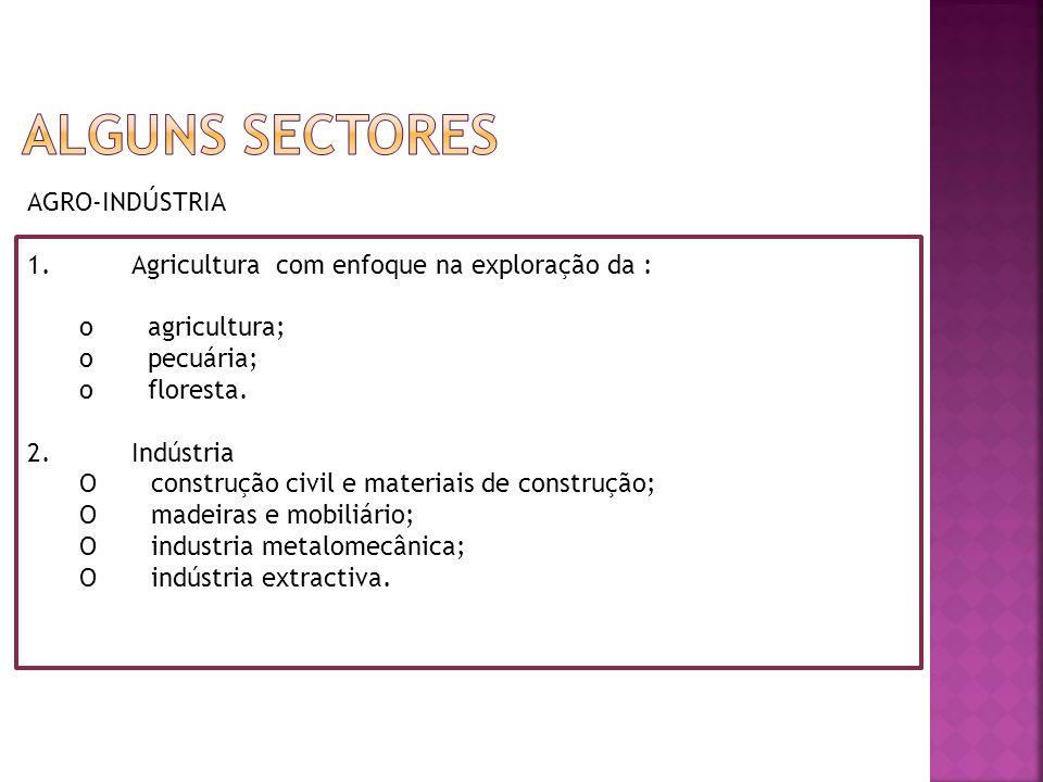 AGRO-INDÚSTRIA 1.Agricultura com enfoque na exploração da : o agricultura; o pecuária; o floresta.
