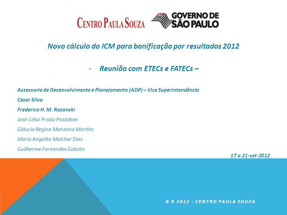 Novo cálculo do ICM para bonificação por resultados 2012 -Reunião com ETECs e FATECs – Assessoria de Desenvolvimento e Planejamento (ADP) – Vice Superintendência Cesar Silva Frederico H.